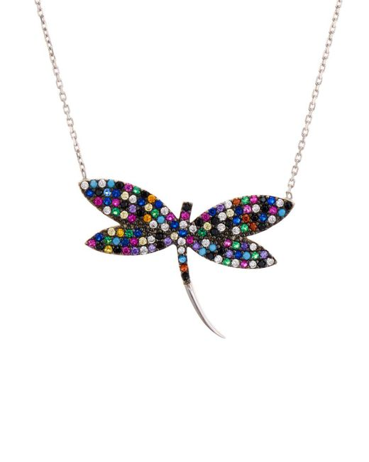 Aqua Multicolor Dragonfly Pendant Necklace In Sterling Silver Or Gold - Tone Sterling Silver