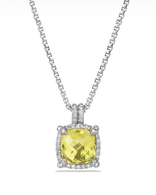 David Yurman - Metallic 'chatelaine' Small Pave Bezel Pendant Necklace With Diamonds - Lyst