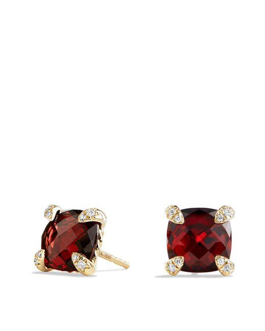 David Yurman | Red Châtelaine Earrings With Garnet In 18k Gold | Lyst