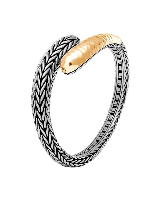 John Hardy | Metallic 18k Yellow Gold And Sterling Silver Classic Chain Hammered Small Kick Cuff | Lyst