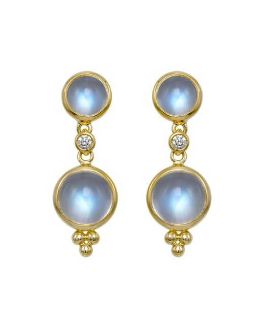 Temple St. Clair | Metallic Double Drop Earrings With Royal Blue Moonstone And Diamonds In 18k Yellow Gold | Lyst