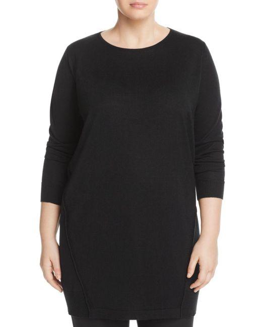 Marina Rinaldi - Black Galletto Wool-blend Knit Dress - Lyst
