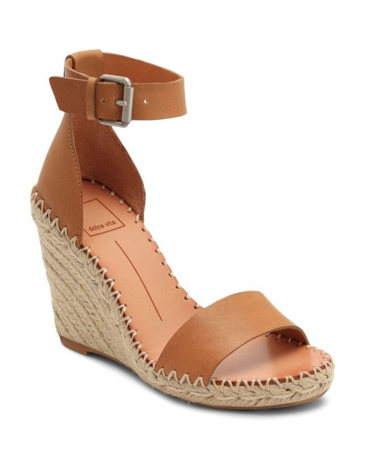 66c21c8b4cd Dolce Vita Noor Ankle Strap Wedge Espadrille in Brown - Save 16% - Lyst