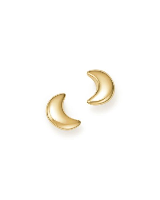 Bloomingdale's - Metallic 14k Yellow Gold Crescent Moon Stud Earrings - Lyst
