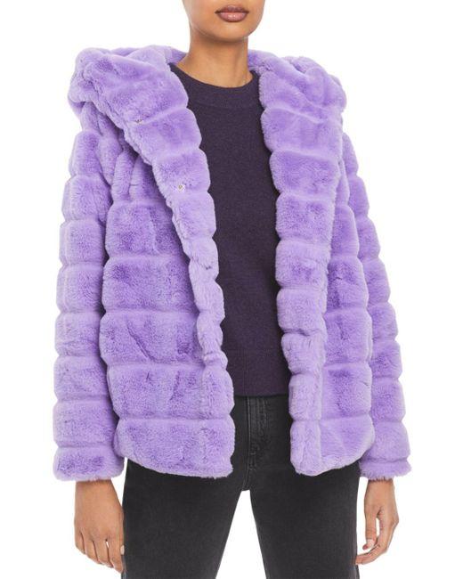 Apparis Purple Goldie Hooded Faux Fur Coat