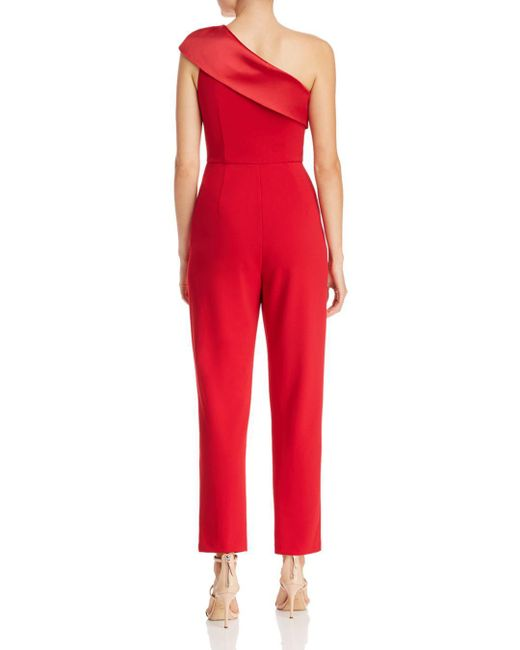 a18890515e9d ... Adrianna Papell - Red One-shoulder Knit Crepe Jumpsuit W  Stretch  Charmeuse Neckline (
