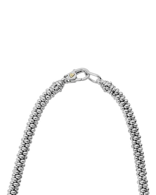 Lagos Metallic 18k Gold & Sterling Silver Diamond Lux Single Station Necklace