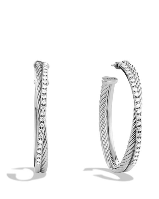 David Yurman - Metallic Crossover Extra Large Hoop Earrings With Diamonds - Lyst