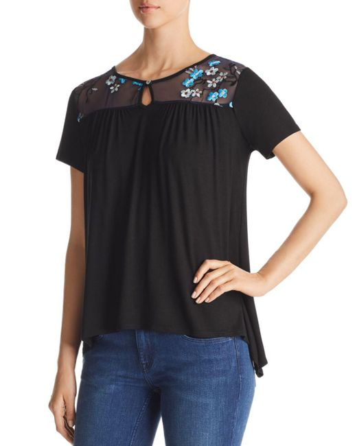 Kim & Cami - Black Embroidered Illusion Top - Lyst
