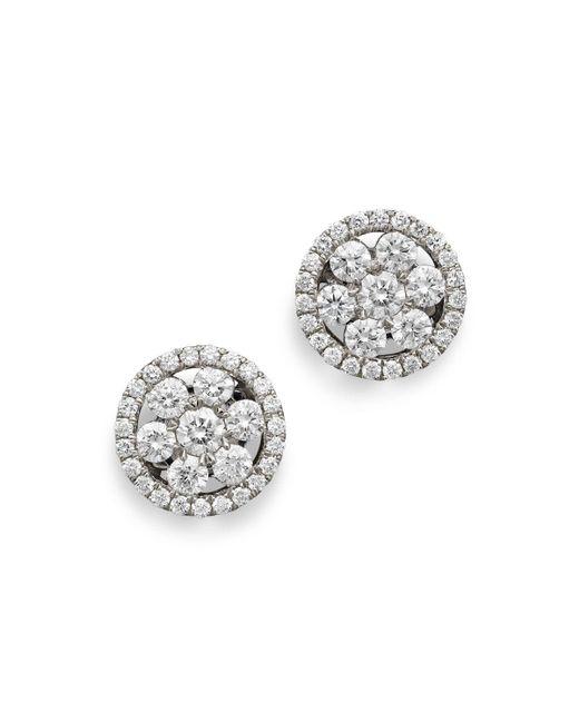 Roberto Coin   18k White Gold Diamond Round Cluster Earrings   Lyst