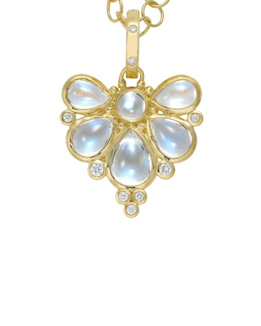 Temple St. Clair | 18k Yellow Gold Wing Pendant With Royal Blue Moonstone And Diamonds | Lyst