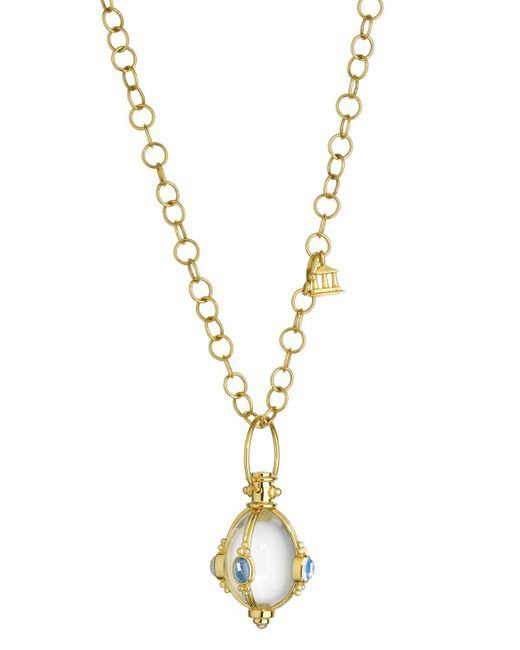 Temple St. Clair   18k Yellow Gold Classic Cabochon Amulet With Oval Rock Crystal, Royal Blue Moonstone And Tanzanite   Lyst