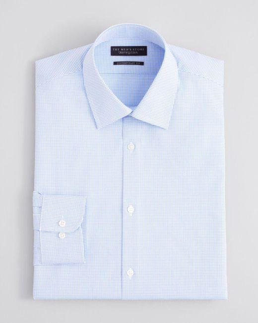 Bloomingdale's Blue Textured Micro Grid Check Dress Shirt - Regular Fit for men