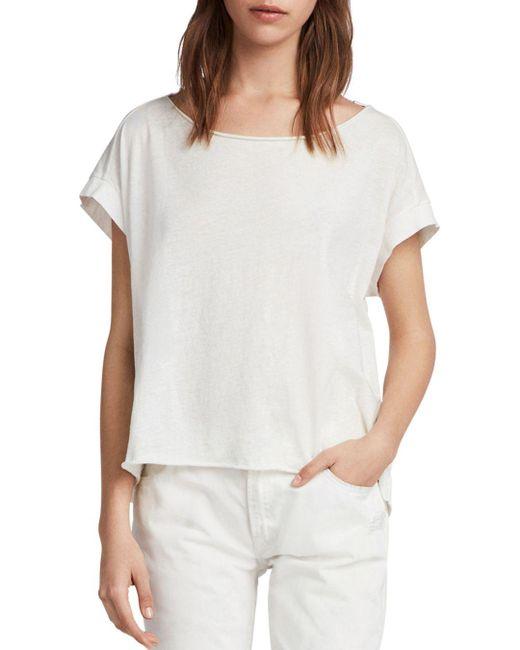 AllSaints - White Pina Fifi Raw-edge Tee - Lyst