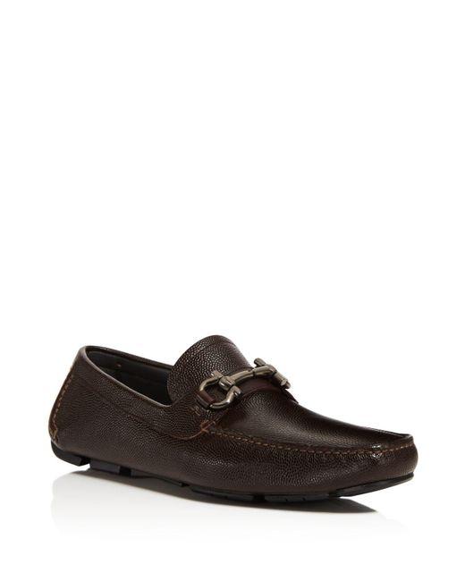 Ferragamo - Brown Parigi Pebbled Leather Loafers for Men - Lyst