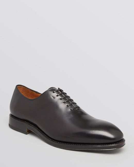 Ferragamo | Black Tramezza Carmelo Plain Toe Oxfords for Men | Lyst