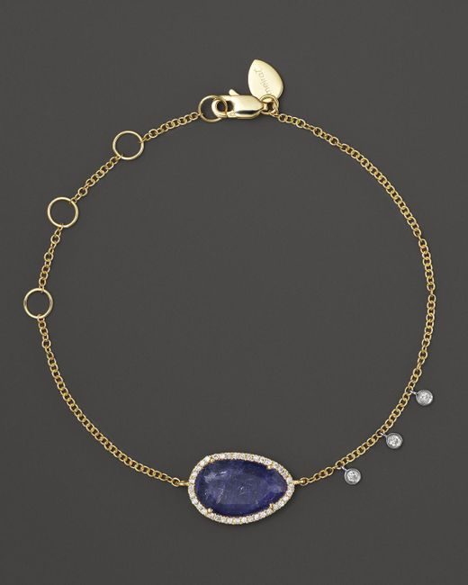 Meira T | Purple Diamond And Tanzanite Bracelet In 14k Yellow Gold | Lyst