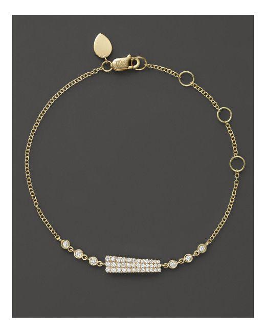Meira T | Metallic 14k Yellow Gold Asymmetrical Diamond Bar Bracelet | Lyst