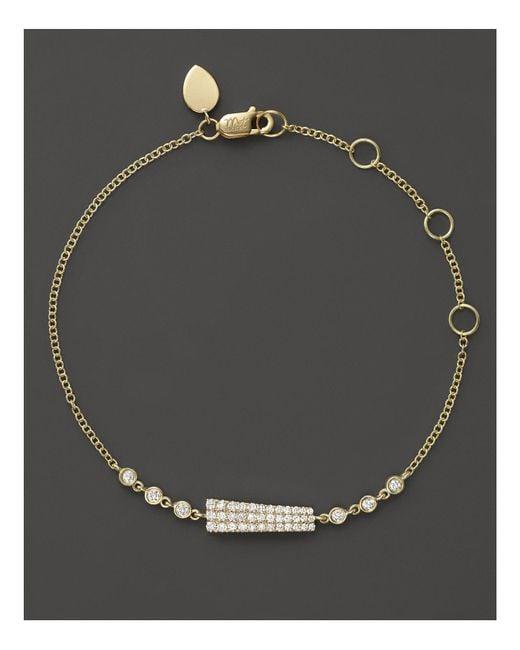 Meira T   Metallic 14k Yellow Gold Asymmetrical Diamond Bar Bracelet   Lyst