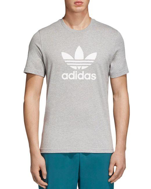 Adidas Originals - Gray Trefoil Short Sleeve Tee for Men - Lyst
