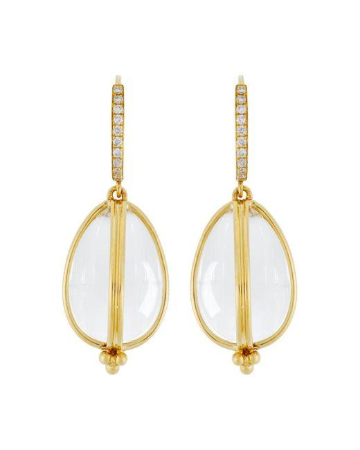 Temple St. Clair | White 18k Yellow Gold Classic Amulet Diamond Pavé Earrings | Lyst