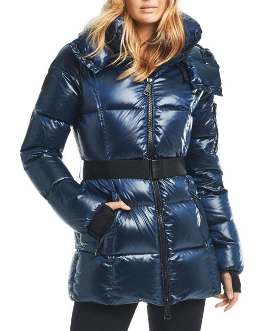 Sam. Blue Soho Gunmetal Belted Down Coat