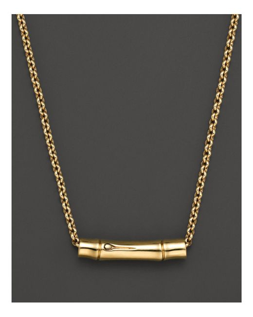 John Hardy | Metallic Bamboo 18k Yellow Gold Slider Pendant On Chain Necklace, 16"