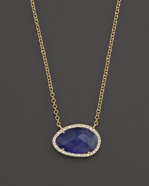 Meira T | 14k Yellow Gold Small Tanzanite And Diamond Necklace, 16"