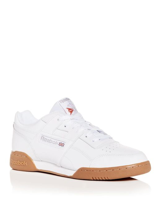a69fe2347ad Reebok - White Men s Workout Plus Leather Low-top Sneakers for Men - Lyst  ...