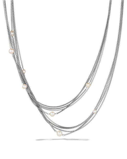 David Yurman Metallic Four - Row Chain Necklace With Pearls