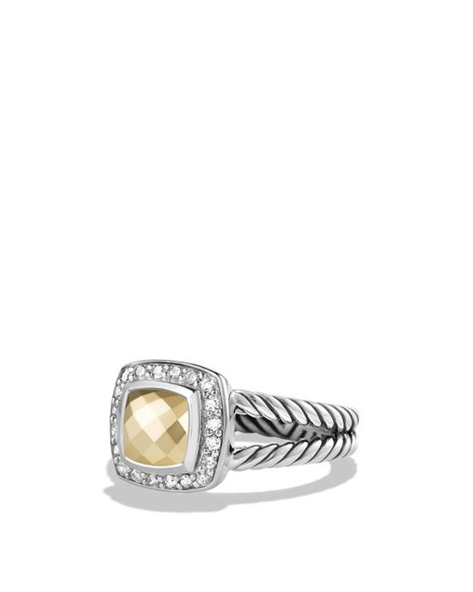 David Yurman - White Petite Albion Ring With 18k Gold Dome And Diamonds - Lyst