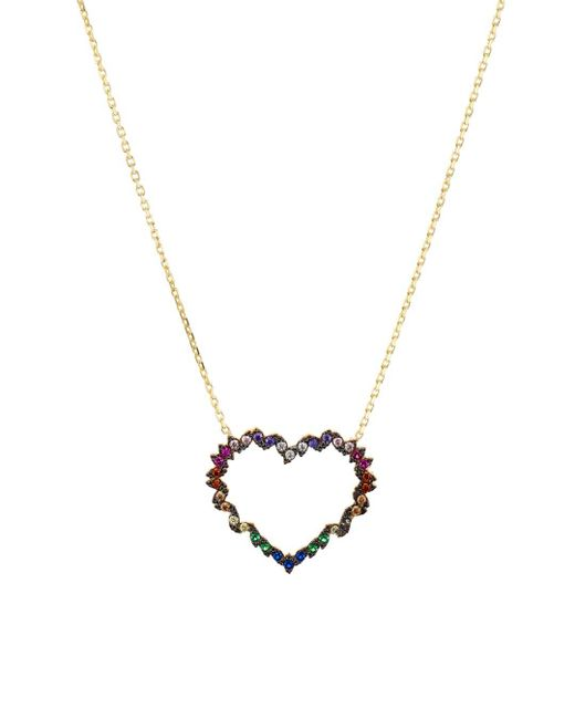 Aqua Metallic Heart Pendant Necklace In Gold - Plated Sterling Silver Or Sterling Silver