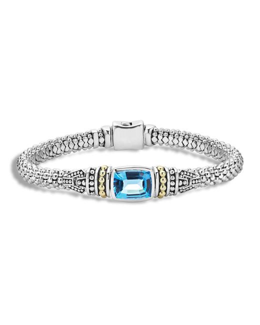 Lagos - 18k Gold And Sterling Silver Caviar Color Bracelet With Swiss Blue Topaz - Lyst