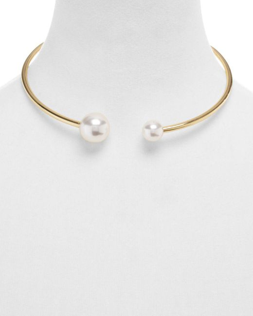 Rebecca Minkoff - Metallic Simulated Pearl Collar Necklace - Lyst