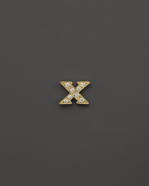 "Meira T | Metallic 14k Yellow Gold And Diamond ""x"" Single Stud Earring | Lyst"