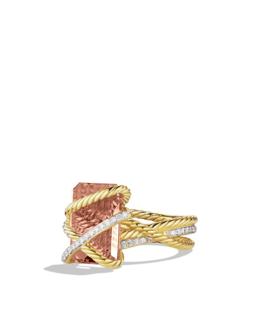 David Yurman | Yellow Cable Wrap Ring With Faceted Morganite & Diamonds In 18k Gold | Lyst