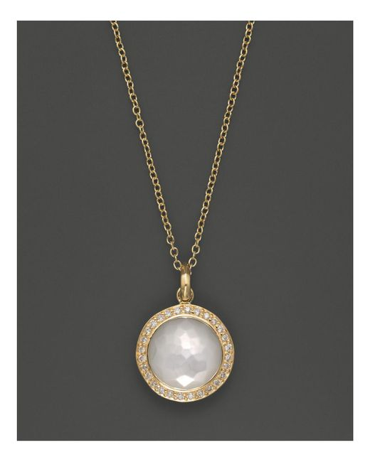 Ippolita | Metallic 18k Yellow Gold Mini Lollipop Pendant Necklace In Mother-of-pearl With Diamonds | Lyst