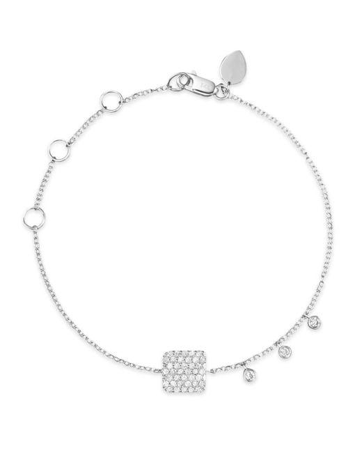 Meira T 14k White Gold Pavé Diamond Square Bracelet