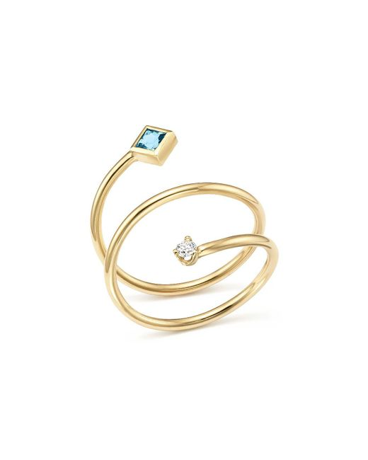Zoe Chicco - Metallic 14k Yellow Gold Diamond And Aquamarine Wrap Ring - Lyst