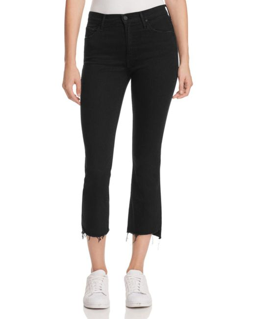 Mother Black Insider Crop Step Fray Jeans In Not Guilty