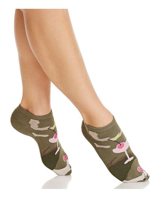 Hue - Green Cocktail Footsie Ankle Socks - Lyst