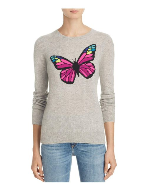 Aqua | Gray Cashmere Butterfly Intarsia Sweater | Lyst