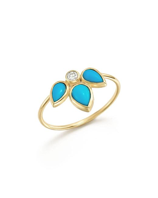 Zoe Chicco | Blue 14k Yellow Gold Ring With Turquoise And Diamond | Lyst