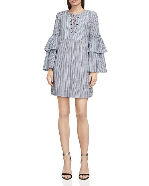 BCBGMAXAZRIA - Gray Charlyze Lace-up Striped Dress - Lyst