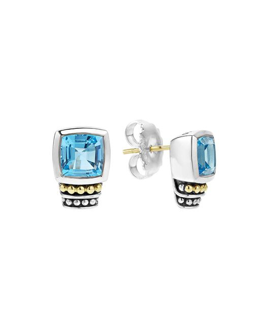 Lagos - 18k Gold And Sterling Silver Caviar Color Stud Earrings With Swiss Blue Topaz - Lyst