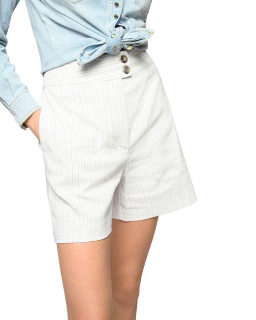 Pinko White Loquace Pinstriped Shorts