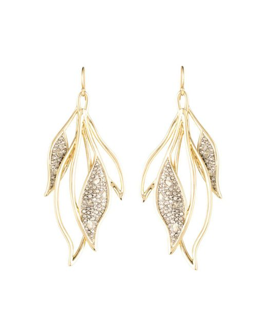 Alexis Bittar - Metallic Crystal Encrusted Feather Wire Earrings - Lyst