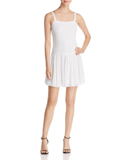 Three Dots - White Eyelet Dress - Lyst