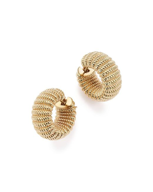Roberto Coin | Metallic 18k Yellow Gold Chic And Shine Hoop Earrings | Lyst