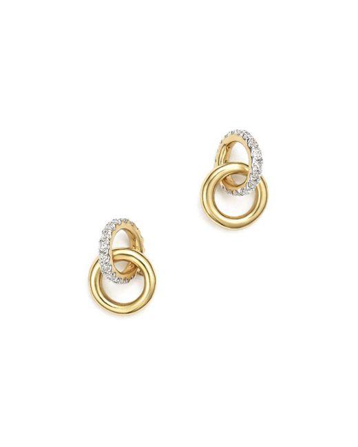 Adina Reyter Metallic 14k Yellow Gold Pavé Diamond Interlocking Loop Stud Earrings
